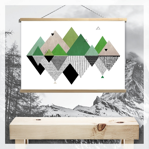 GEOMETRIC MOUNTAIN REFLECTIONS - Canvas